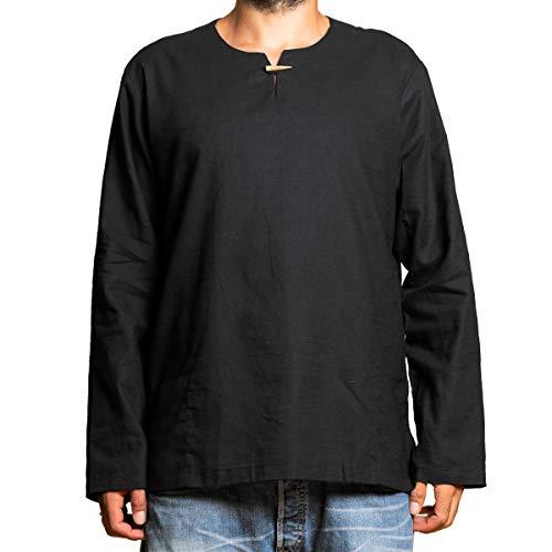 PANASIAM Shirt T01, Cotton, Black, XL, Longsleeve - Viking Kleidung