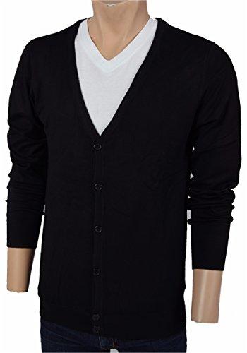 Deep V-neck Cardigan (Iwea Herren Cardigan V-Ausschnitt Strickjacke V-Neck Pullover Slim Fit IW030, Schwarz, S)