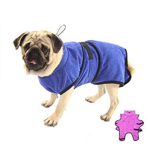 XDYFF Schnelltrocknend Hunde-Bademantel Saugfähiger, Schnell Trocknender Mantel Luxuriöse Mikrofaser,Blue,XL