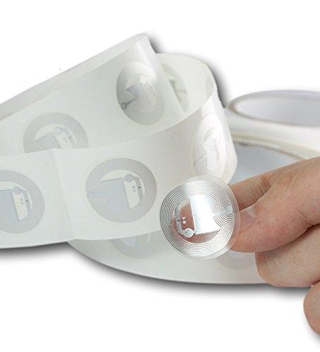 10 x NFC Tags | NXP Chip NTAG216 | 888 Byte Speicherkapazität |Selbstklebende runde und transparente Etiketten | Hohe Scankraft und Ultra Slim-Design | starker Aufkleber