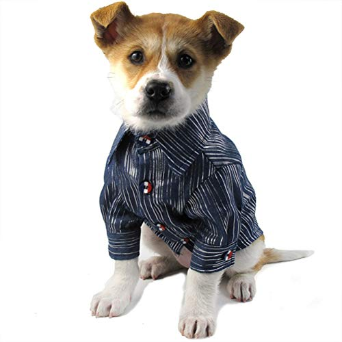 Haustier Hundehemd Retro Classic Denim Kleidung Small Medium Pet Wear-Resistant Atmungsaktiv Waschbar ()