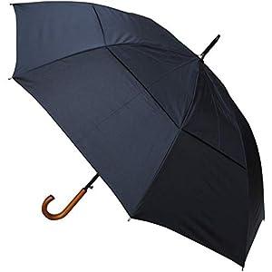 COLLAR AND CUFFS LONDON – Windproof 134 cm Bogen – Holzgriff – SEHR STARK – Verstärkt mit Fiberglas – StormDefender City – Ventilationsbezug – Automatik Stockschirm – Regenschirm – Schwarz