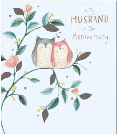 Husband Anniversary Karte–(ukg555546)–Eulen im Baum–aus der Carlton Karten Serie–Mit Einem Silber und Rose Gold Vereitelt Finish
