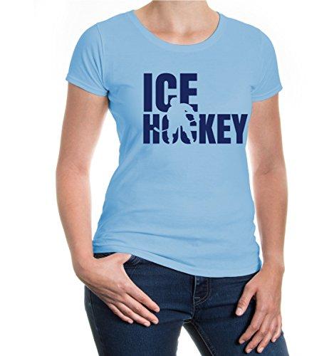 buXsbaum® Girlie T-Shirt Ice Hockey Type Skyblue-Navy