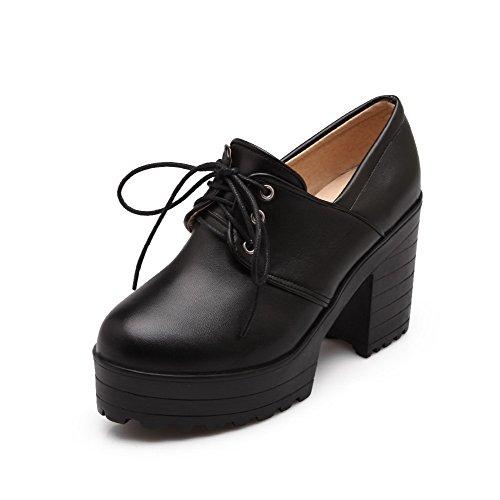 VogueZone009 Femme Lacet à Talon Haut Pu Cuir Couleur Unie Rond Chaussures Légeres Noir