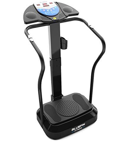 Bluefin Fitness Vibrationsplatte Pro Modell | Verbessertes Design mit Leisen Motoren und Eingebauten Lautsprechern (Schwarz)