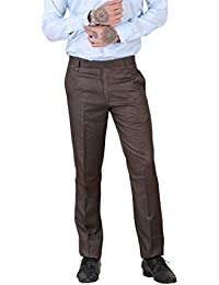 York Style Brown Colored Cotton Lycra Formal Trouser For Men - B0767ND52Y