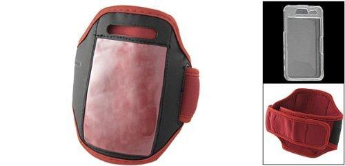 DealMux Red Armband Halter mit klarem Kristall Kunststoff-Gehäuse für iPhone 4G 4 (Klar-armband-halter)