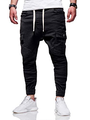 behype. Herren Cargo Biker Jogger-Jeans Hose mit Taschen Slim-Fit S-XXL 80-6722 Schwarz XL