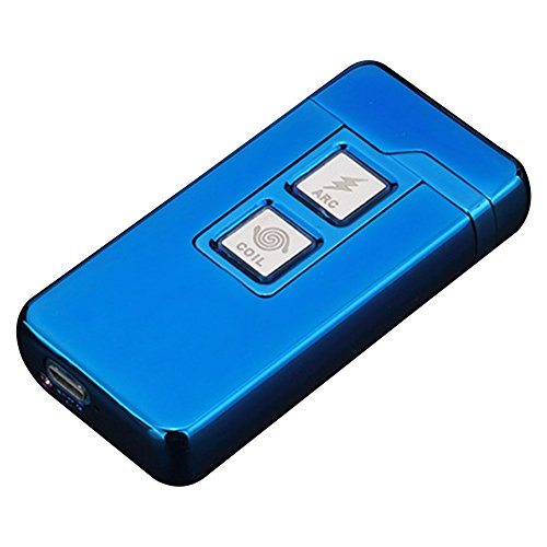 2 in 1 Plasma Arc Feuerzeug und Coil Feuerzeug,Aufladbare Winddichte USB Zigarettenanzünder Berührungssteuerung Blau von QIMAOO