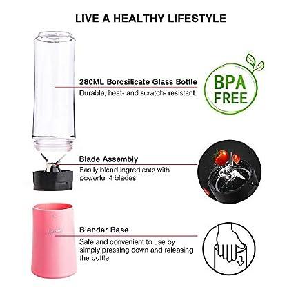 Blusmart-Mini-Standmixer-Smoothie-Maker-150-Watt-2x280ml-BPA-freie-Tritan-Flasche-mit-Deckel-Pink