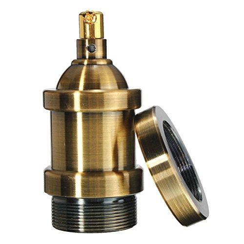 KINGSO Lampenfassung e27 Vintage Edison Halter retro Kupfer fassungen metall Fassung ohne Kabel nostalgie idea für Pendelleuchte und Hängelampe Messing matt
