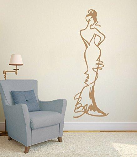 Mode Modell Skizze Vinyl Wandkunst Aufkleber Wohnzimmer Design Studio Dekoration Braut Salon Wandtattoos Removable Z 42x129 cm