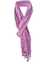 67fca7fd15e31a TigerTie gecrashter Schal in rosa pink grau gestreift mit Fransen - 190 x  60 cm