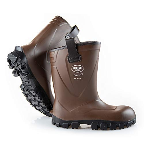 Men Safety Wellington Rigger Boots: Steel Toe Cap, Half-Height, Midsole Protection, Pull on Loops, Kick Off spur, Waterproof, Extra Grip Due to SRC Sole, Dry and Warm feet, Brown, Different Sizes