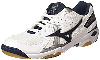 Mizuno Wave Twister 4, Chaussures de Volleyball Homme - Blanc (White/Dress Blues/Silver), 44 1/2 EU (10 UK)