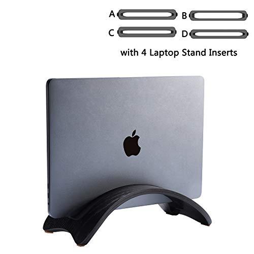 Samdi Vertikale Laptop-Ständer, woodmacbook Schutzhülle Laptop-Halter mit 4 Slots mehr Desktop platzsparend für Apple MacBook Air Pro Notebooks White Birch (Eichenholz in Schwarz)