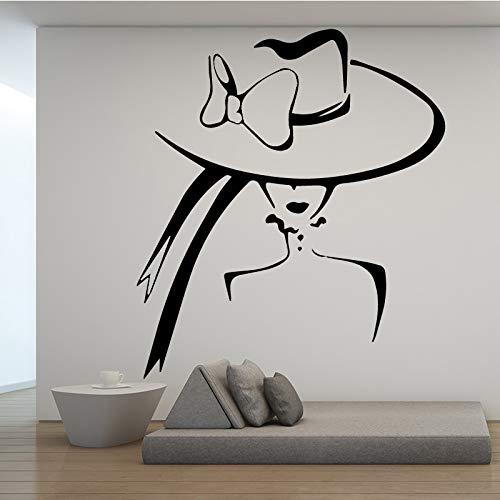 Wsliuxu salone di bellezza per adesivi murali bella donna cappello trucco styling silhouette adesivo murale vinile arte murale ragazza camera grigio xl 58 cm x 65 cm