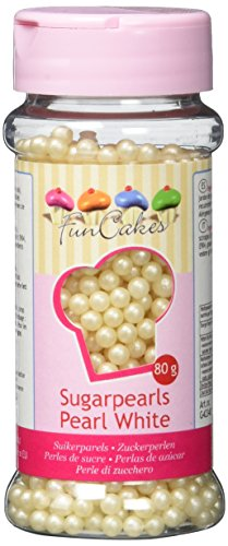 FunCakes Zuckerperlen Perlmutt Weiß, 4 mm - 80 gramm