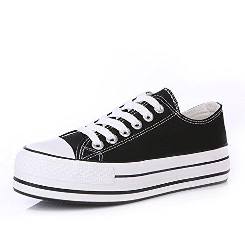 scarpe di tela donne Classic/scarpe casual/Solid scarpe piattaforma fondo pesante/Scarpe bianche studenti marea-C Lunghezza (Grigio Suede Piattaforma)