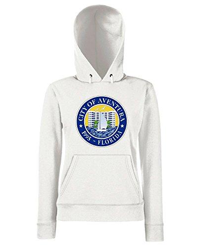 T-Shirtshock - Sweats a capuche Femme TM0030 City of Aventura Florida citta Blanc