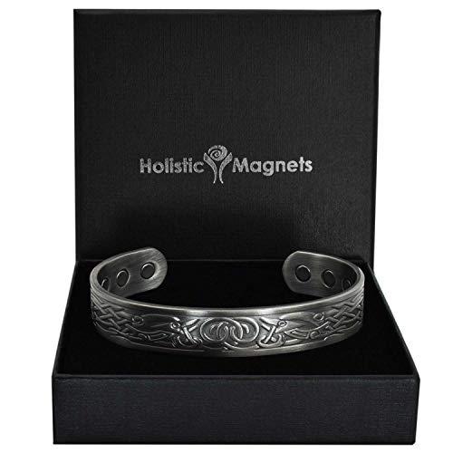 Holistic Magnets® Wikinger Kupfer Armband XL (Antik-Silber) Herren Magnet Armbänder für Arthritis Originelle Geschenke für Männer Magnetarmband +Geschenkbox-VGP (XL: Handgelenk 20,5-24cm)