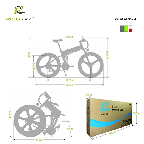 41VnwwKwfXL. SS500  - RICH BIT Electric Folding Mountain Bike Mens Bicycle MTB RT860 12.8Ah Lithium-ion battery 7 Levels PAS speed LCD Display High Function Speedometer 50-60 Cycling Range Dual Susepension Black-Green