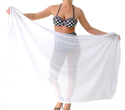 erdbeerloft- Damen Strandtuch groß transparent, 180 x 70cm, zwei Farben Weiß