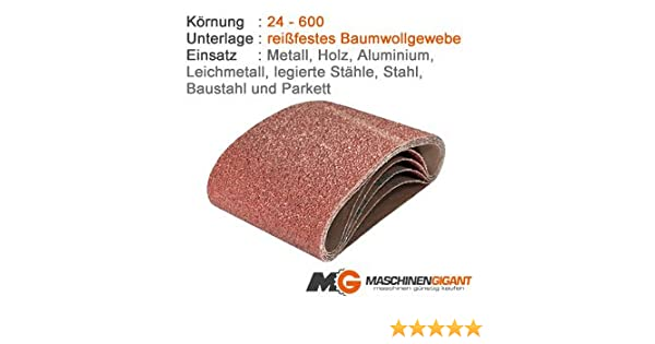 3 Gewebe Schleifb/änder f/ür Metall Made in Germany Lack 150 x 1220 mm Korn 36 Holz