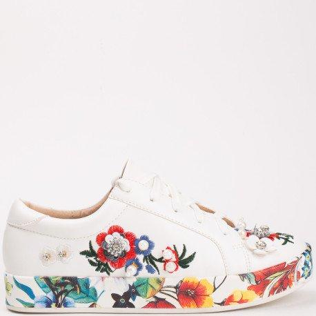 Ideal Shoes - Baskets basses avec broderies et strass Meilie Blanc