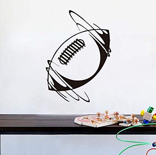 Mrlwy Einzigartige Schlafzimmer Dekoration Spinning Rugby Ball Wandaufkleber Vinyl Removable Home Decor Selbstklebende Rugby-Muster Aufkleber 31X44 Cm