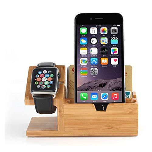 Bois multi SmartPhone Station de chargement rack ,, Organisateur accueil de stand en bois avec Montre Stand & 3 Chargeur Câble USB, téléphone portable Stations de charge Compatible avec Watch, télépho
