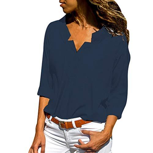 Yvelands Damen T-Shirt Frühjahr und Herbst Fashion Solid Stehkragen Einfarbig Langarmshirts