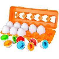 Aiduy Toddler Egg Set Toys for 1 2 3 Years Old Boys Girls, Colour Sorting Educational Toys for 1 2 3 Year Olds, Colour Matching Egg Toys for Toddlers Kids Children, 12pcs