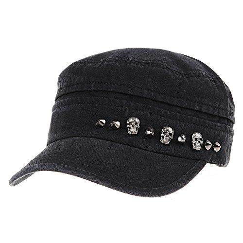 WITHMOONS Baseballmütze Army Cadet Cap Military Skull Stud Cotton Army Hat DW4411 (Black) (Stud Military)