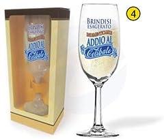 Idea Regalo - dor BICCHIERE flute ADDIO AL CELIBATO Calice vetro Gadget stampato idea regalo festa