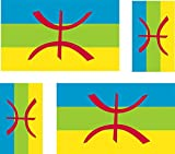 4 x Autocollant sticker voiture moto valise pc portable drapeau kabylie