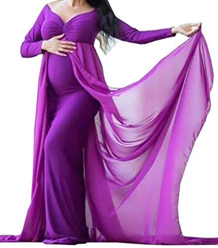 Arbres Femme Photographie Robe avec Chiffon Train Mère Enceinte Robe de Grossesse pour Photo Shooting Baby Shower Dress Bump Robes