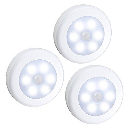3 Stück-schlafzimmer-tabelle (Auben Nachtlicht, LED-Licht mit Bewegungsmelde / Stick-Anywhere-Innen für den Schrank oder die Schublade, Treppen, Schlafzimmer, Küche, Kinderzimmer / 3 Stück Weiß batteriebetrieben)
