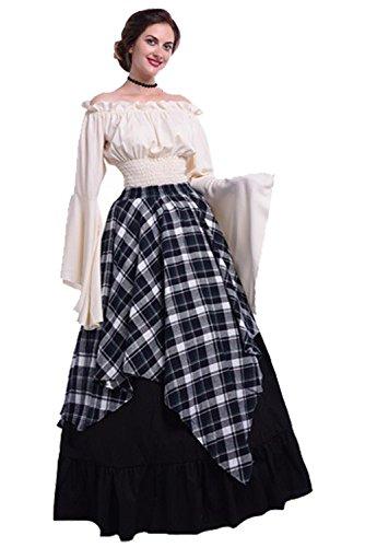 Ditshore Damen Renaissance Kostüm Pirat Kleid Schulterfrei mittelalterlichen Boho Chemise Kleider,Gothic Viktorianischen Königin Kostüm Langarm Maxi Party Kostüm,Weiß