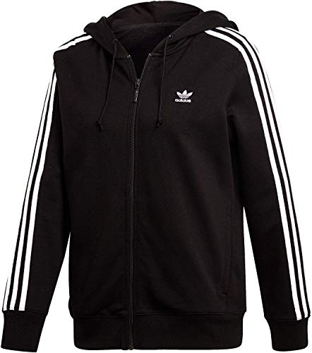 adidas 3-Stripes, Felpa con cappuccio, Donna, Nero, 46 IT