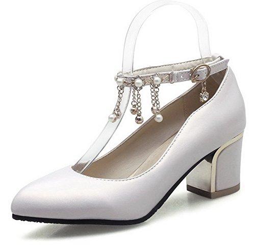 VogueZone009 Femme Boucle ? Talon Correct Mati?re M?langee Couleur Unie Pointu Chaussures L?geres Beige