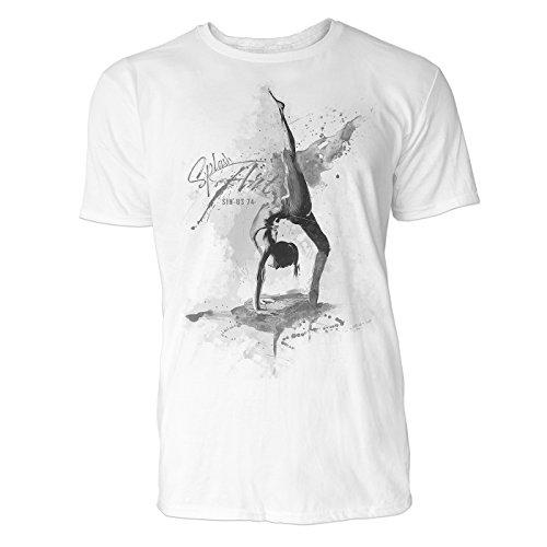 Yoga Urdhva Prasarita Eka Padasana Sinus Art ® Herren T Shirt ( Schwarz Weiss ) Sportshirt Baumwolle