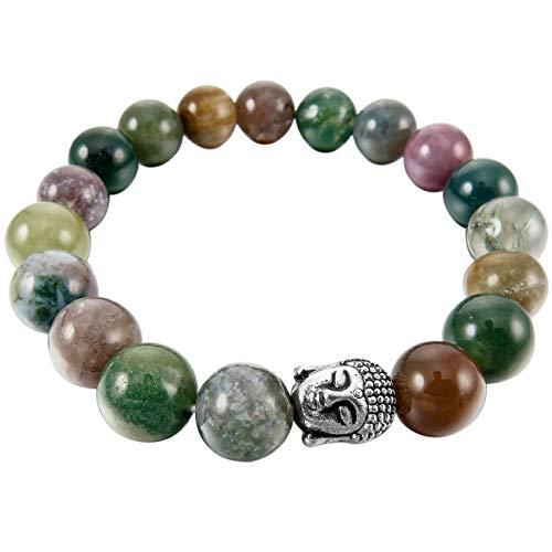 legierung Legierung Energiearmband Energie Armband Link Handgelenk EnergieStein Grün Silber Ton Indian Achat Buddha Gebet Mala Kugel Perle Perlen Elastisch ()