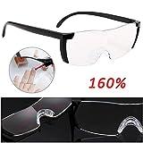 Kingsaid Lupenbrille als Lesehilfe und Sehhilfe - Vergrößerungsbrille 160% inklusive Hardcase und Zubehör (Schwarz)