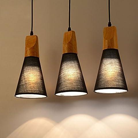 Tianliang04 Holz Stoff Hängeleuchte Moderne Decke Hängende Lampe Küche Kronleuchter Lampe, Schwarz, 1 Leiter