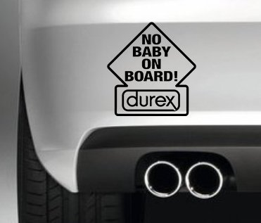 NO BABY ON BOARD CAR BUMPER STICKER FUNNY BUMPER STICKER CAR VAN 4X4 WINDOW PAINTWORK DECAL GRAPHIC
