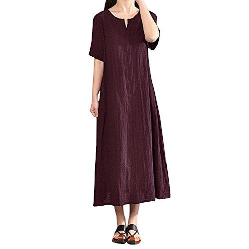Junjie Damen Sommerkleid Plus Size Bohemia Casual Solid V-Ausschnitt Kurzarm Baumwolle Leinenkleid Elegant Vintage Strandkleid A-Linie Kleid Frauen Minikleid Sommer Party Ballkleid, 5XL,  Weinrot -