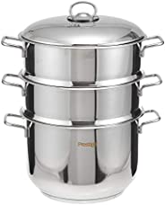 Prestige PR7011 Steamer Set, 4 Piece 24cm, Silver, W 35.4 x H 28.0 x D 27.2 cm, Stainless Steel