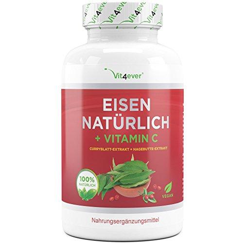 Vit4ever® Eisen Natürlich + Vitamin C - 180 Kapseln - Curryblatt-Extrakt & Hagebutte-Extrakt - 28 mg Eisen + 160 mg Vitamin C pro Tagesportion (2 Kapseln) - Eisentabletten - Vegan - Hochdosiert